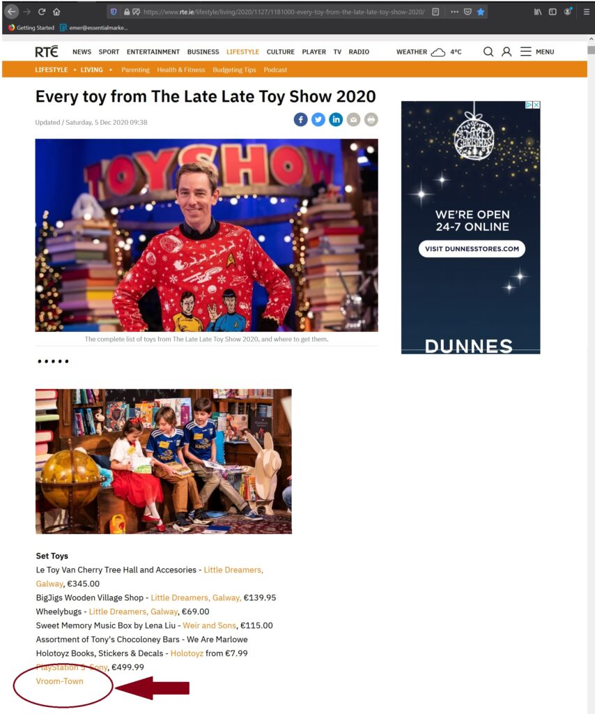 Vroom-Town on Late Late Toy Show 2020 Page​
